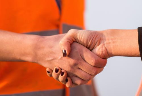 Architects handshaking